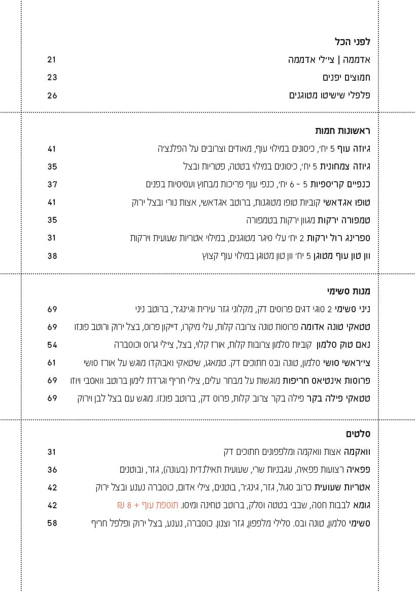 תפריט ניני צ׳ו בעברית